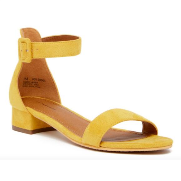 ce7a1314590 Women s Yellow Low Heels Sandals Open Toe Shoes